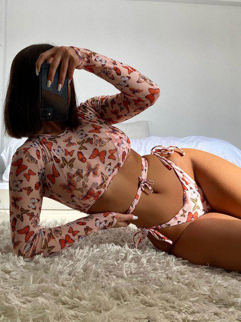 online ZAFUL Mesh Butterfly Print Three Piece String Bikini Swimwear - LIGHT COFFEE M Mobile
