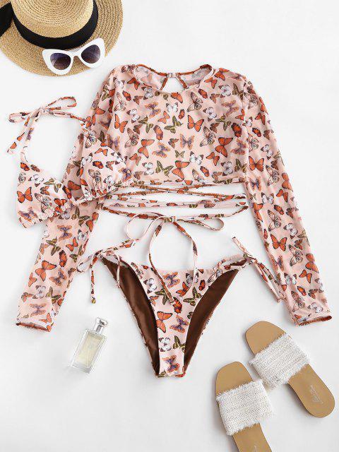 ZAFUL Bikini de Tres Piezas con Estampado de Mariposa - café luz S Mobile