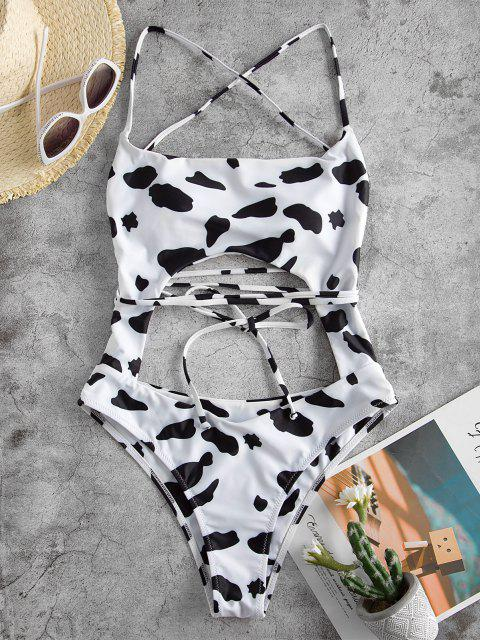 outfit ZAFUL Cow Print Lace Up Cutout Monokini Swimsuit - WHITE S Mobile