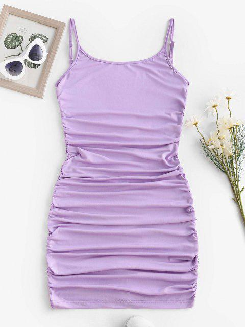 womens ZAFUL Low Back Slinky Ruched Bodycon Cami Dress - LIGHT PURPLE M Mobile