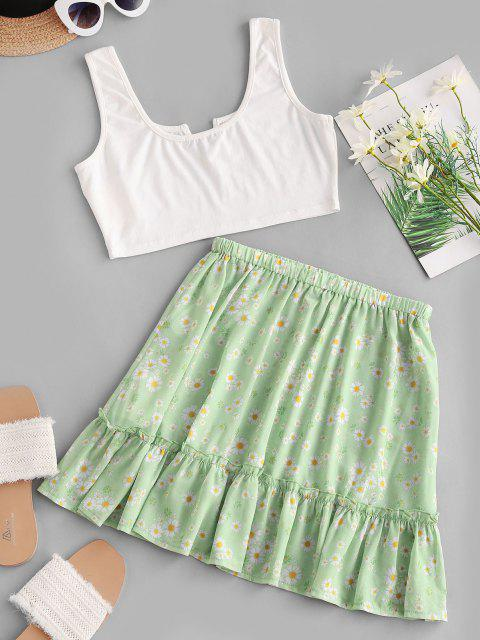 women ZAFUL V-notched Cropped Daisy Print Two Piece Dress - LIGHT GREEN M Mobile