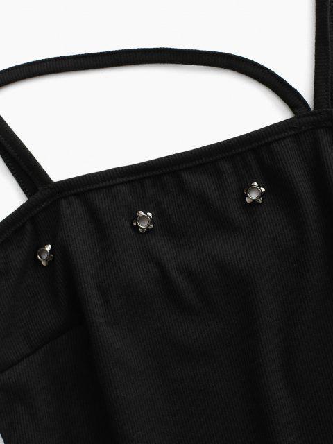 Haut à Bretelle Découpé Côtelé Embelli de Pétale - Noir M Mobile