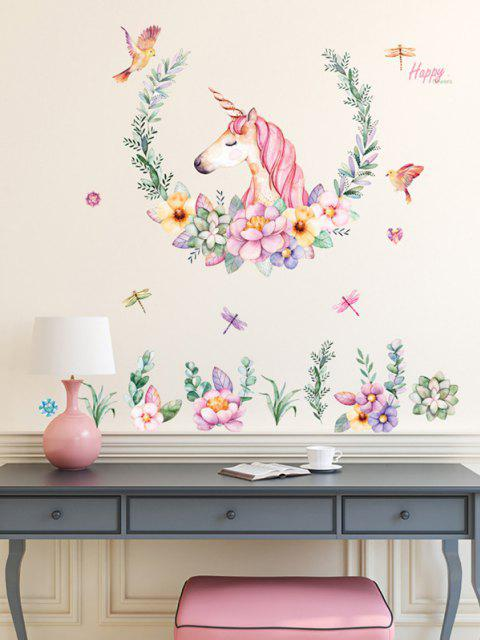 hot Flowers Unicorn Pattern Room Decoration Wall Stickers Set - MULTI-A 60X90CM Mobile