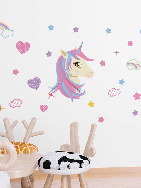 outfit Unicorn Heart Rainbow Pattern Wall Sticker Set - MULTI-A 45X60CM Mobile
