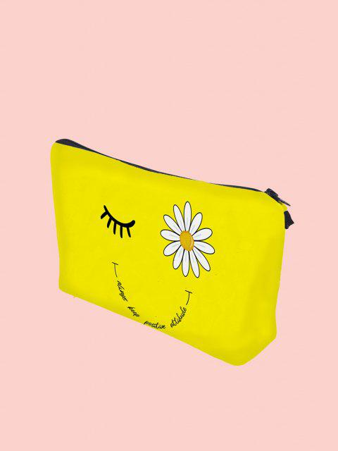Daisy Eyelash Letter Print Cosmetic Bag - Giallo  Mobile