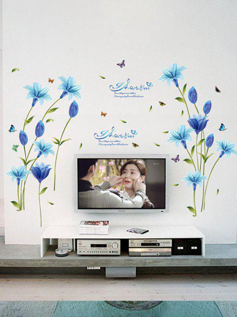 affordable Blue Lily Print Wall Stickers Set - MULTI-A 60X90CM Mobile