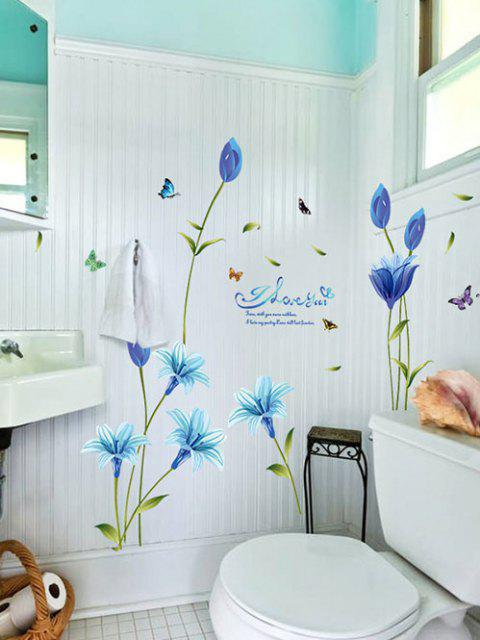 Blue Lily Print Wall Stickers Set - マルチA 60x90cm Mobile