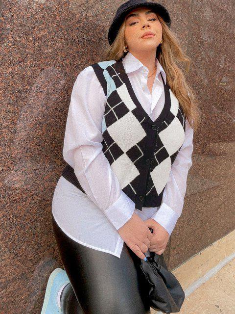 sale ZAFUL Plus Size V Neck Argyle Pattern Sweater Vest - BLACK 2XL Mobile