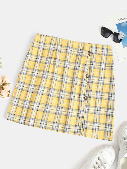 Plus Size Checked Buttoned Pelmet Skirt - الأصفر 1XL Mobile