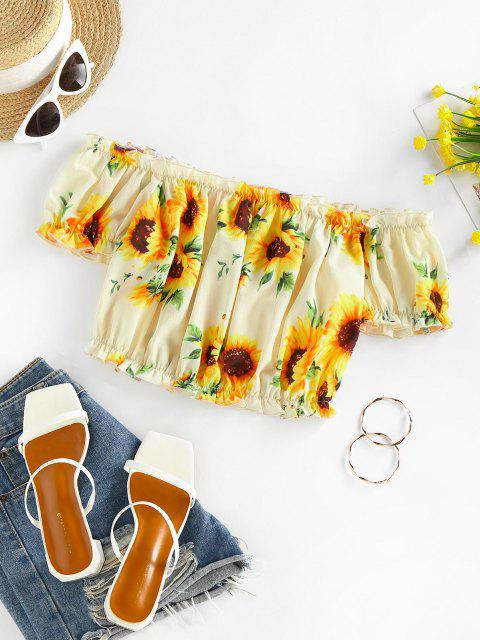 shop ZAFUL Ruched Sunflower Puff Sleeve Crop Blouse - MULTI L Mobile