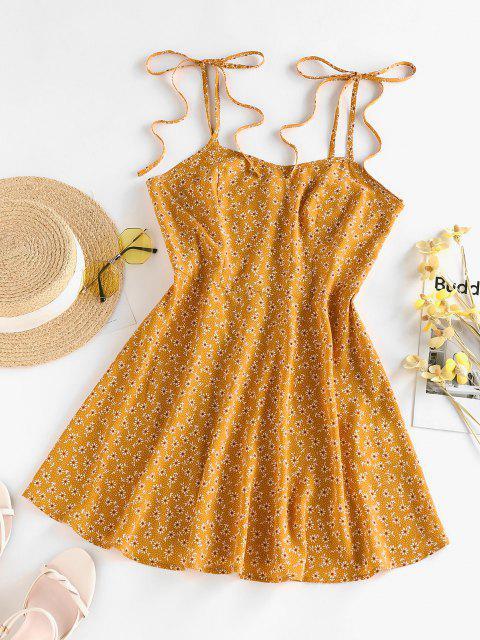 ZAFUL Gebundenes Ditsy Blumen Schulter Cami Sommerkleid - Dunkel gelb XL Mobile