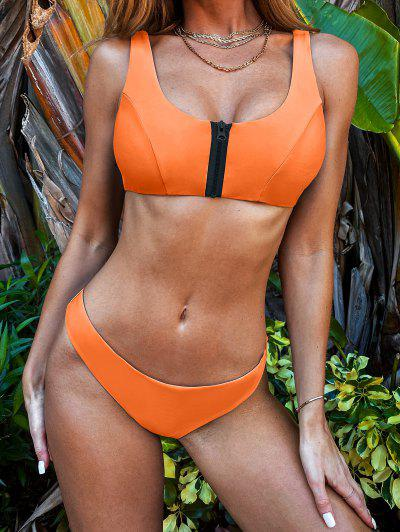 ZAFUL Zip Front Tank Bikini Set - Mango Orange S