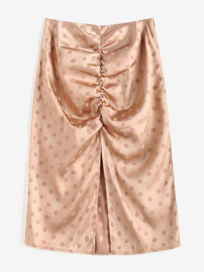 Polka Dot Ruched Slit Skirt - Light Coffee M
