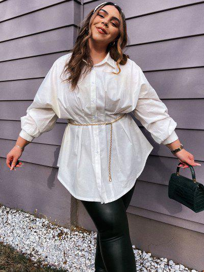 Plus Size Pleated Waist Drop Shoulder Longline Shirt - White L