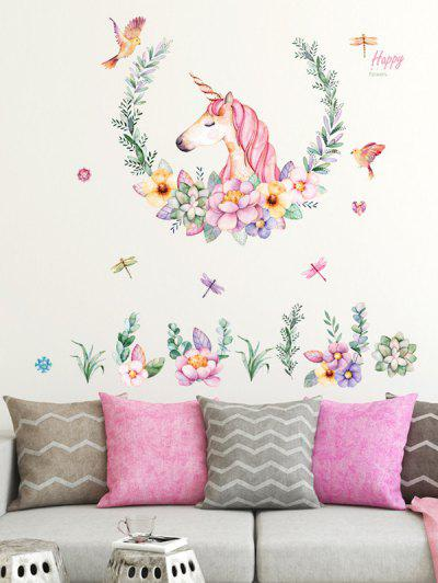 Flowers Unicorn Pattern Room Decoration Wall Stickers Set - Multi-a 60x90cm