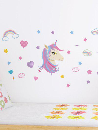 Unicorn Heart Rainbow Pattern Wall Sticker Set - Multi-a 45x60cm