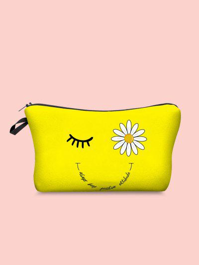 Daisy Eyelash Letter Print Cosmetic Bag - Yellow