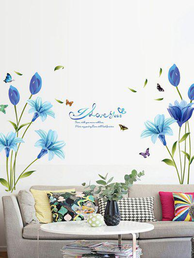 Blue Lily Print Wall Stickers Set - Multi-a 60x90cm