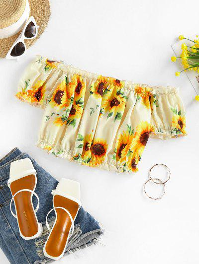 ZAFUL Ruched Sunflower Puff Sleeve Crop Blouse - Multi S