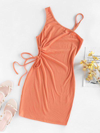 ZAFUL Vestido Escotado Con Cuello Oblicuo Con Cordón - Naranja S