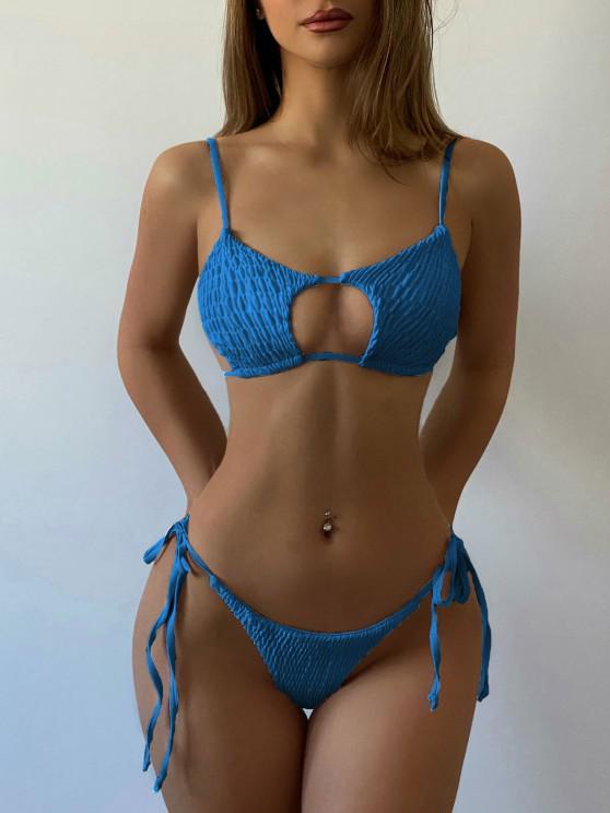 ZAFUL Keyhole Smocked String Bikini - كوبالت بلو S