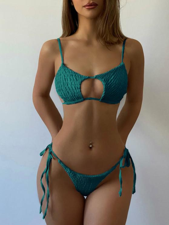 new ZAFUL Keyhole Smocked String Bikini - PEACOCK BLUE M