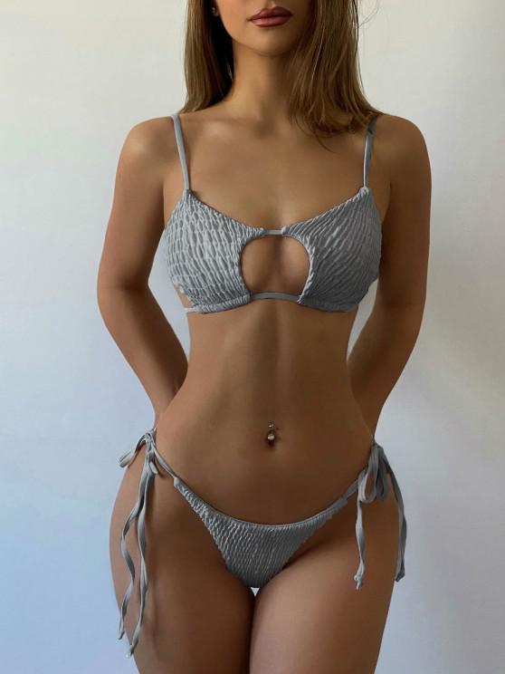 hot ZAFUL Keyhole Smocked String Bikini - LIGHT GRAY S