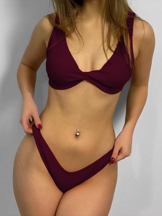 fashion Low Rise Textured Twist Bikini Set - RED WINE S