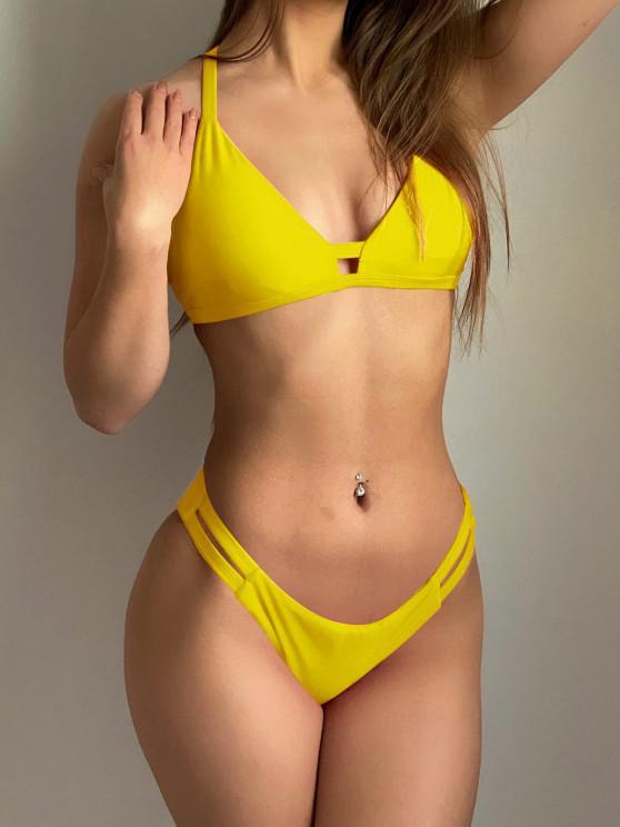 fancy Ladder Cut Cami Ruched Bikini - YELLOW M