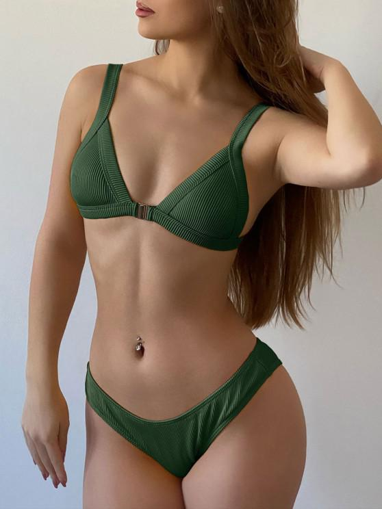 chic ZAFUL Ribbed Front Closure Bikini Set - DARK FOREST GREEN S