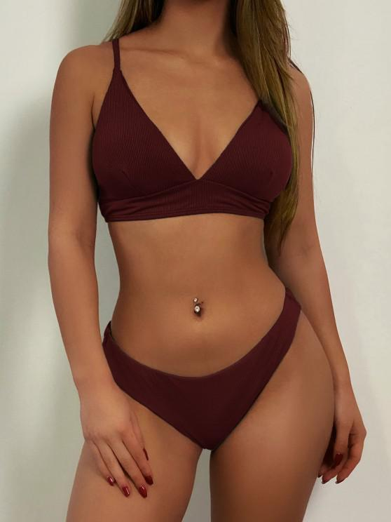 ladies ZAFUL Ribbed Lace Up Cami Bikini Swimwear - RED WINE M