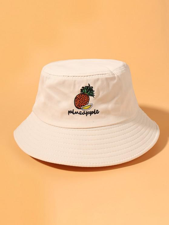 trendy Pineapple Embroidery Bucket Hat - WARM WHITE