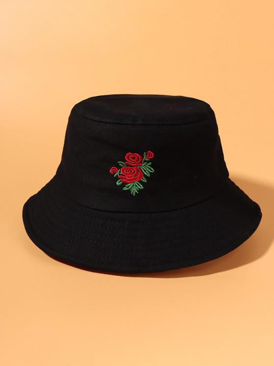 fashion Rose Embroidered Bucket Hat - BLACK