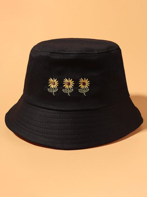 Gestickter Sonnenblumen Bucket Hut - Schwarz