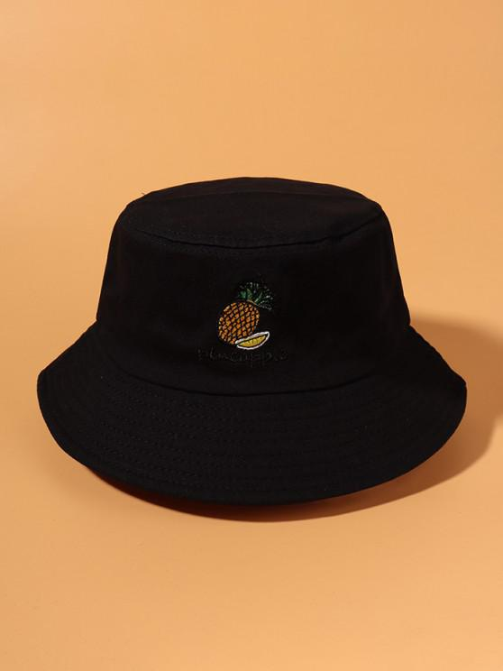 ladies Pineapple Embroidered Bucket Hat - BLACK