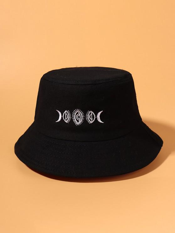 lady Moon Embroidered Pattern Bucket Hat - BLACK