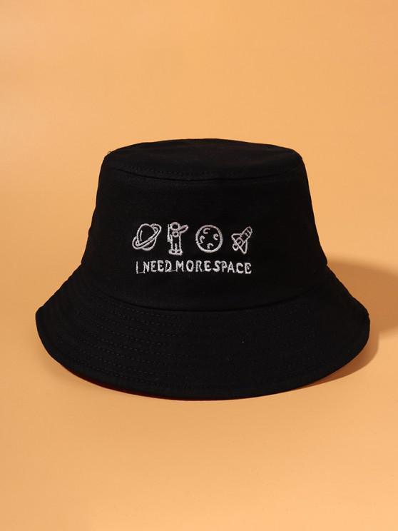 Planet Stickerei Bucket Hat - Schwarz