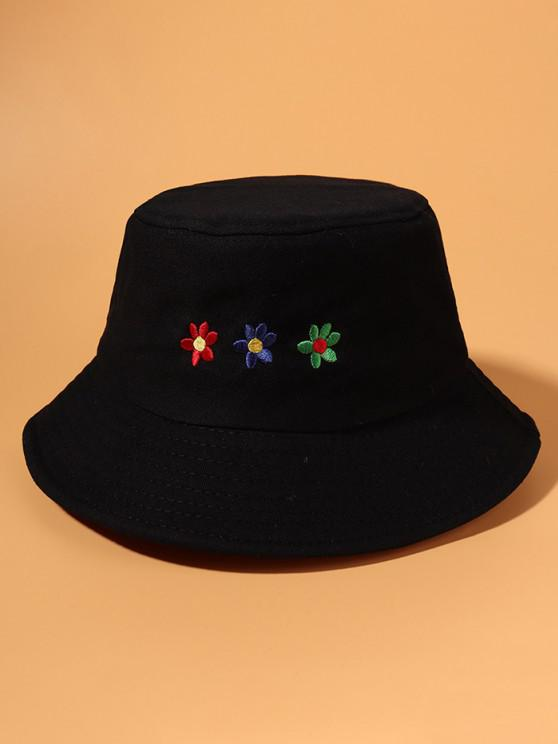 Colored Flower Embroidered Bucket Hat - أسود
