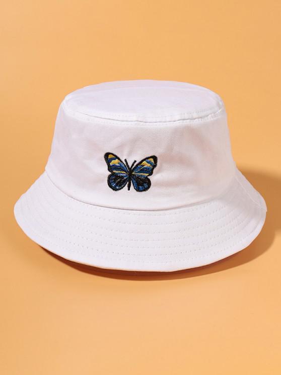 Lässige Schmetterling Stickerei Bucket Hut - Weiß