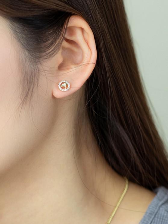 ladies Golden Engraved Leaf Round Zircon Stud Earrings - GOLDEN
