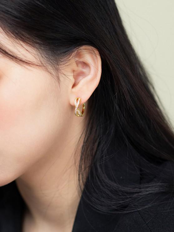 lady Golden Cross Zircon Pave Setting Stud Earrings - GOLDEN