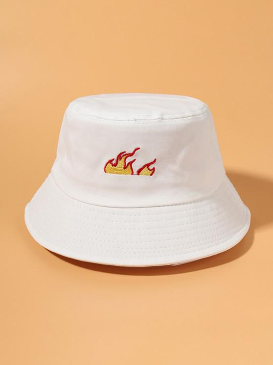Embroidered Flame Bucket Hat - أبيض