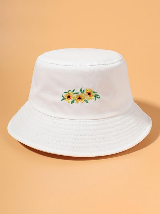 hot Embroidered Sunflower Bucket Hat - WHITE
