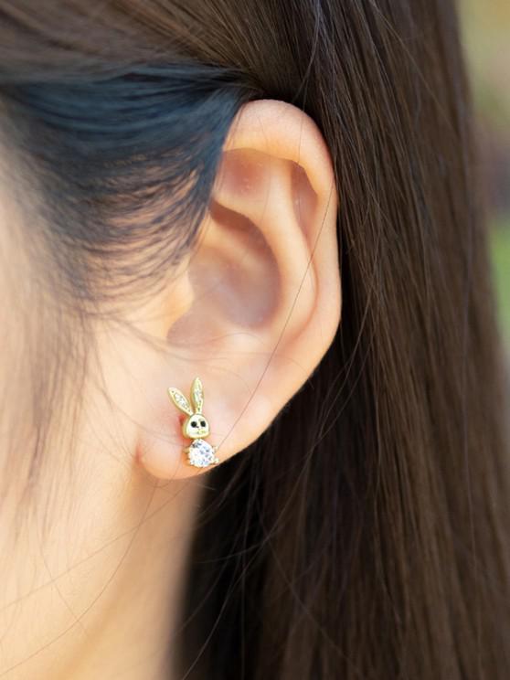 shops Golden Rabbit Zircon Plated Stud Earrings - GOLDEN