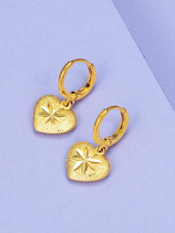 Golden Heart Engraved Gilded Huggie Earrings - ذهبي