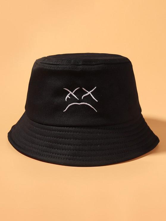 Cappello da Pescatore a Secchio con Ricamo Floreale a Faccia Sorridente - Nero