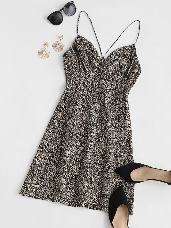 lady ZAFUL Leopard Print Plunge Dress - MULTI M