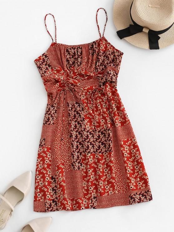 Vestido de Tirante Fino con Estampado de Flores Minúsculos - Rojo XL