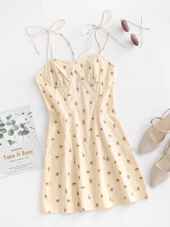 hot ZAFUL Tie Shoulder Floral Bustier Sundress - LIGHT YELLOW M