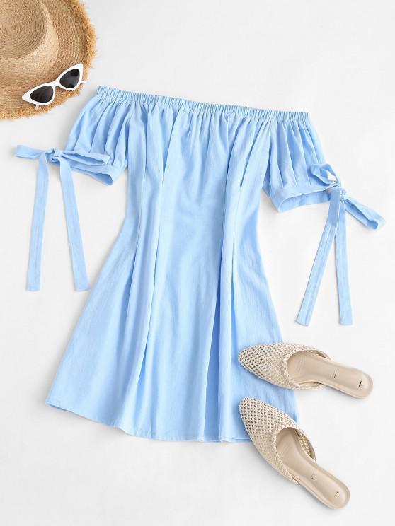 latest ZAFUL Tie Sleeve Off The Shoulder Dress - LIGHT BLUE S